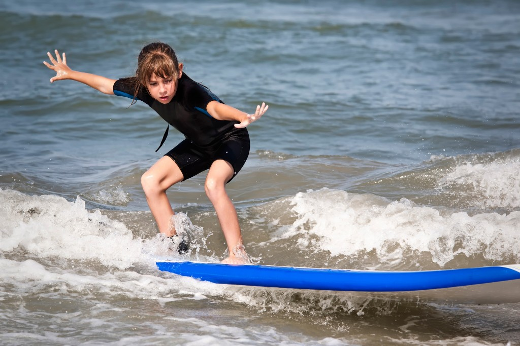 Surfing kid