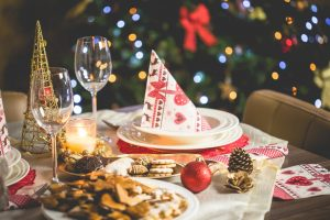 party hat on plate during christmas party