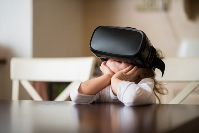 kid with VR device